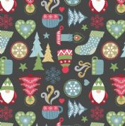Lewis & Irene - Hygge Christmas - 5976 - Winter Motifs on Black  - C26.3 - Cotton Fabric